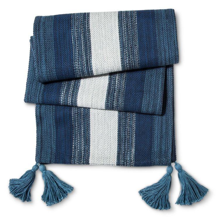 "Blue Stripes Marled Table Runner (72""x14"") - Threshold"