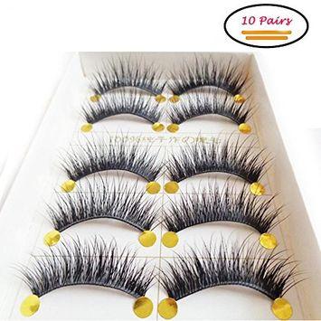 False Eyelashes Pack, 3D Black Soft Natural Long Fake Thick Eye Lashes Strips Handmade False Eyelashes Extension for Women's Make Up 10 Pairs/2 Pack