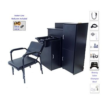 Square Beauty Salon Shampoo Bowl with DOUBLE Floor Cabinets for MAXIMUM Storage and AutoReclining Shampoo Chair TLC-B11FC-DBL-216