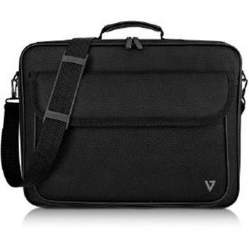V7 CCK16-BLK-3N 16 in. Polyester Essential Frontloading Laptop Case, Black