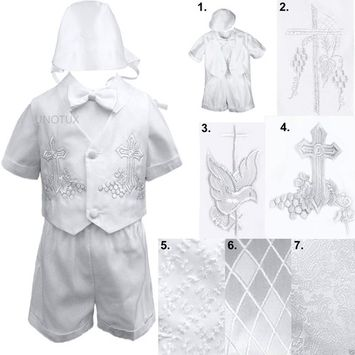 Infant Toddler Boys Christening Baptism Vest Set Outfits White from Baby- 4T [name: actual_color value: actual_color-4.thickercrossandgrapes]