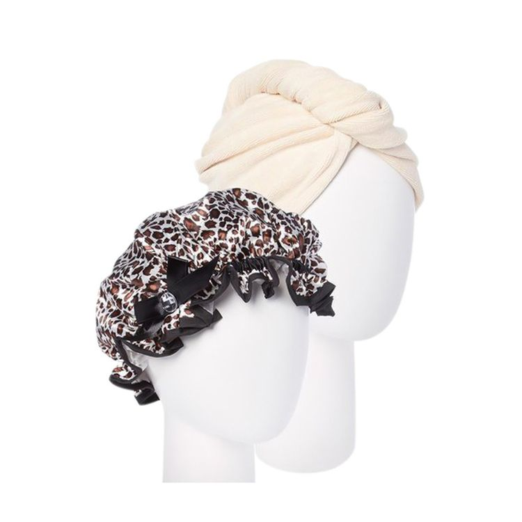 Turbie Twist Cream Microfiber Hair Towel and Leopard Shower cap, Multi-Colored