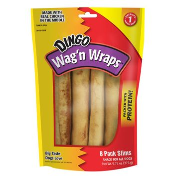 Dingo Wag'n Wraps Dog Treat - Chicken size: 8 Count