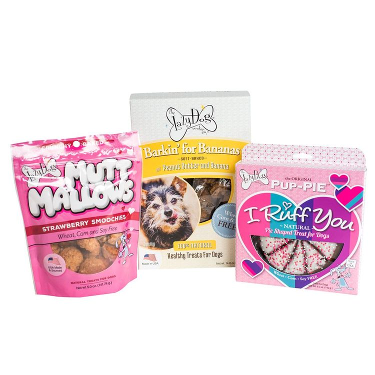 The Lazy Dog Cookie Co. I Ruff You Pup-PIE, Barkin' for Bananas and Mutt Mallows Dog Treat Trio Set