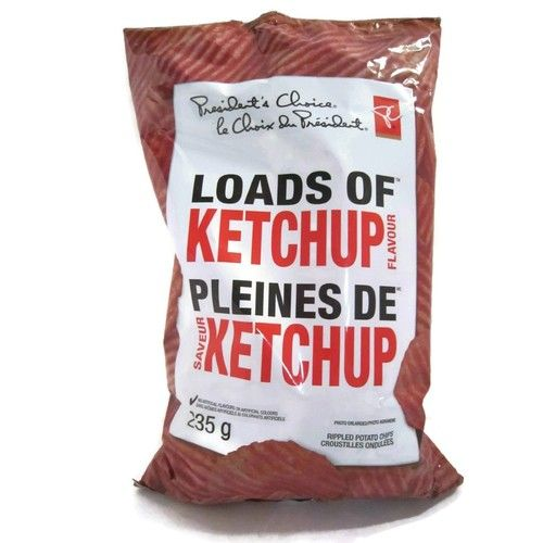 Canadian President's Choice Loads of Ketchup Flavour Chips [1 Large Bag]