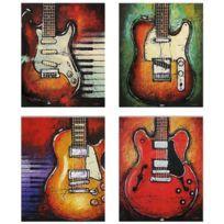 Pas de canevas en toile encadrée peinture d'art peint photo mur décor d'art guitare-l