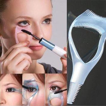 Upper Lower Lash Mascara Applicator Guide Eyelash Comb Helper Assistant DIY 3 in 1 Fashion Easy Use AOSTEK(TM)