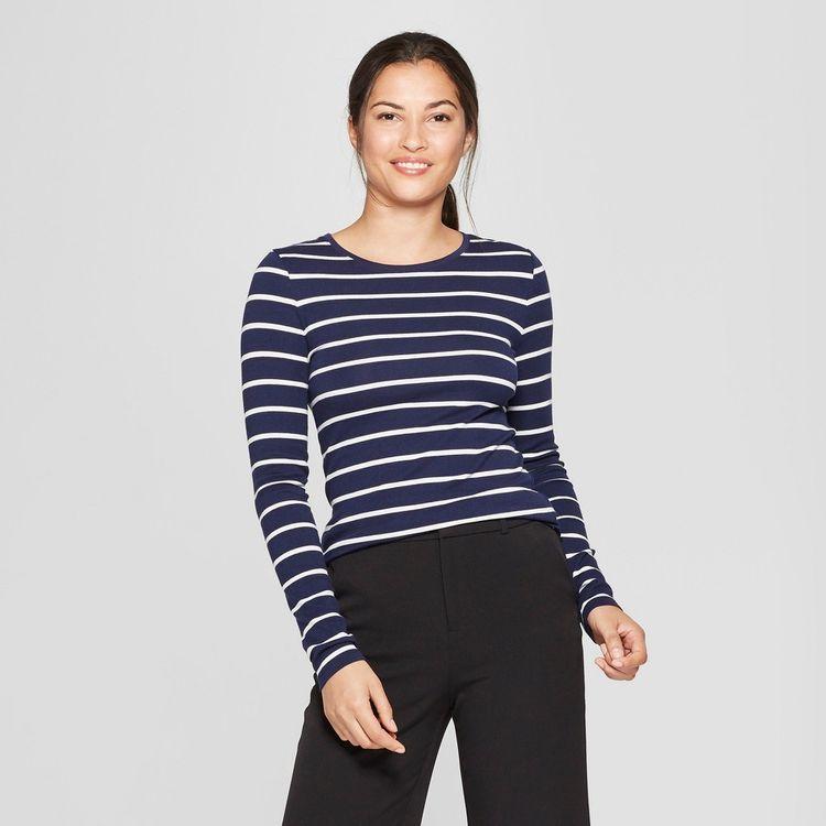 Merona Women's Stripe Tee - Turquoise Whisper XXS