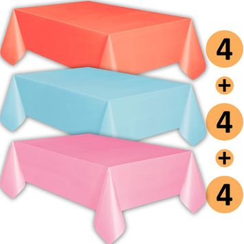 12 Plastic Tablecloths - Coral, Baby Blue, Classic Pink - Premium Thickness Disposable Table Cover, 108 x 54 Inch, 4 Each Color