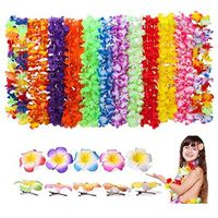 UUsave 30 Pcs Tropical Hawaiian Luau Flower Leis Necklaces + 10 Pieces Hawaiian Leis Ruffled Flowers Hair Clip for Party Supplies, Beach Birthday Party Favors Supplies Decorations