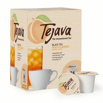 Tejava Black Tea Pods, Unsweetened Black Tea with Peach Flavor, 24 Count [Peach]