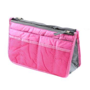 Pink High Quality Waterproof Nylon Storage Bags New Women Multifunctional Cosmetic Makeup Bags Travel Organizers Insert Handbags~~