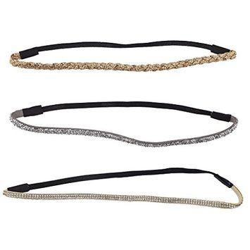 Lux Accessories Glitter Sticker Stone Stretch Headband Headwrap Set (3PCS)