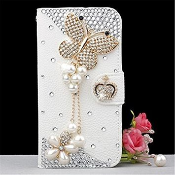 Samsung Galaxy A6 Plus 2018 Case, Scheam Leather Case 3D Diamond Bling Shining Case Wallet Case Credit Card Slot Kicktand Flip Cover Shockproof Protective Case for Galaxy A6 Plus 2018 (Butterfly)