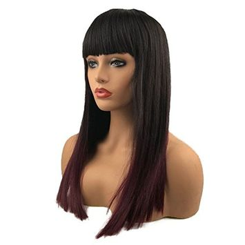 Aimole Long Straight Wigs with Bangs Synthetic Hair Darkest Brown And Red Ombre Wig