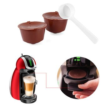 2pcs Reusable Coffee Capsules Refillable Dolce Gusto Coffee Filters Compatible with Nescafe Genio Piccolo Esperta and Circolo (with Coffee Spoon)