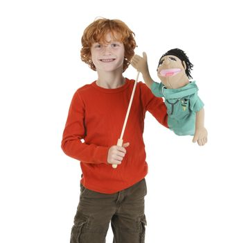 Melissa & Doug Surgeon Puppet With Doctor Scrubs and Detachable Wooden Rod for Animated Gestures