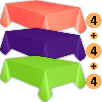 12 Plastic Tablecloths - Coral, Purple, Lime Green - Premium Thickness Disposable Table Cover, 108 x 54 Inch, 4 Each Color