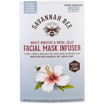 Savannah Bee Company Inc, Facial Mask Infuser, White Hibiscus & Royal Jelly, 1 Resusable Mask