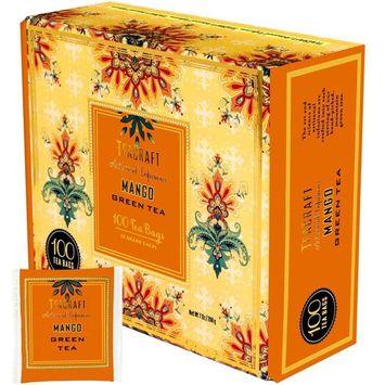 TeaCraft Mango Green Tea Artisanal Infusions 100 Tea Bags 2 Grams Each Bag 7 Ounces