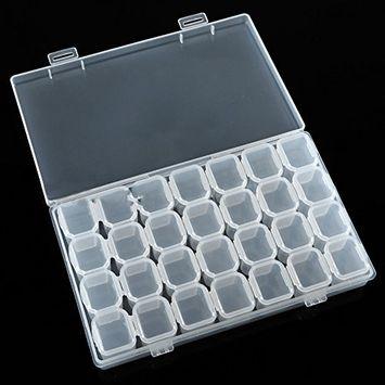 Polytree Removable Clear Plastic 28 Slots Storage Box Organiser Nail Art Rhinestone Jewelry Diamonds Earrings Beads Display Case