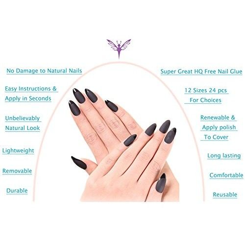 Ejiubas 24 Pcs Black Matte with Glossy Finish Full Cover Talone Medium False Nail Tips
