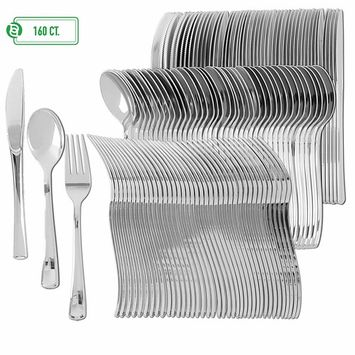 Disposable Plastic Utensils | Heavy Duty Silverware & Solid Cutlery Set | Perfect for Weddings, Buffets, Luncheon & More | 80 Forks, 40 Spoons & 40 Knives Combo Pack | 160 Count