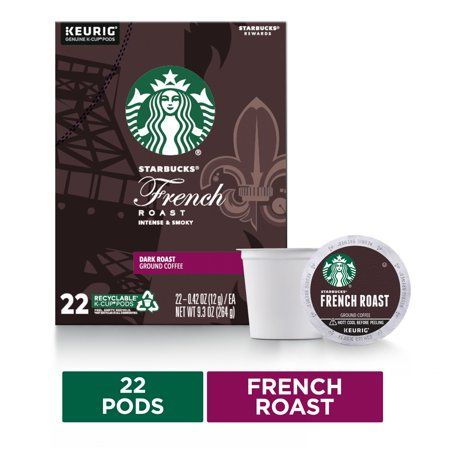 Starbucks Dark Roast K-Cup Coffee Pods — French Roast for Keurig Brewers — 1 box (22 pods)
