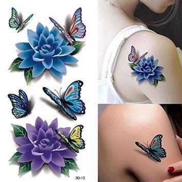 Temporary Tattoos - Rose Tattoo Tafly Fake Tattoos Waterproof Bikini Glue Temporary - Colorful 3d Butterfly Flower Rose Tattoo Sticker Waterproof Temporary Decal Diy Body Art - - 1PCs