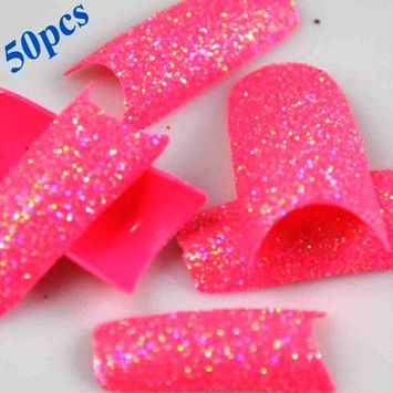 50 Stunning Glitter Super Pink Acrylic French False Nail Art Tips NEW by 350buy