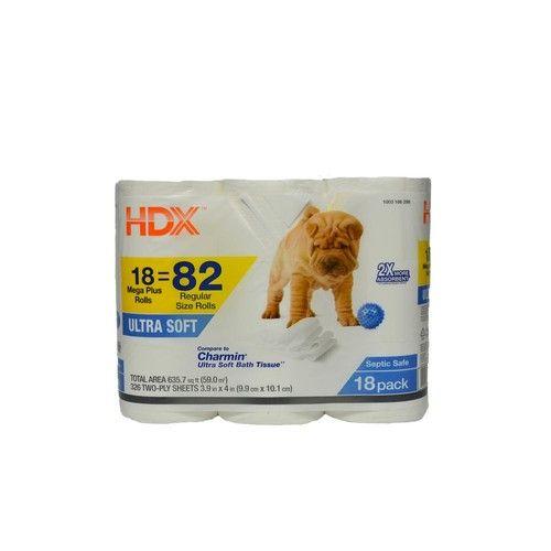 HDX Ultra-Soft Toilet Tissue (326-Sheets per Roll, 18-Rolls per Pack)