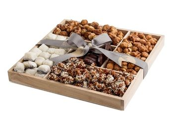 The Nuttery Ny The Nuttery Premium Sweet Nuts and Rich Gourmet Chocolate Gift Basket- Wooden Tray Sectional-Nuts and Chocolate Mix