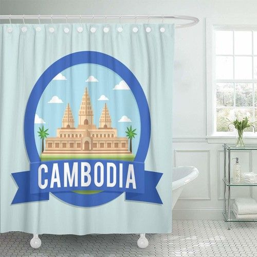 KSADK Angkor Cambodia Travel and Tour Design Concept Wat Shower Curtain Bathroom Curtain 60x72 inch