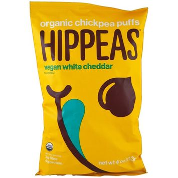 Hippeas, Organic Chickpea Puffs, Vegan White Cheddar, 4 oz (113 g) [Flavor : Vegan White Cheddar]