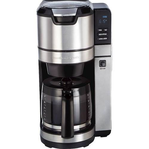 Hamilton Beach - 12-Cup Coffee Maker with Integrated Coffee Grinder - Black/Stainless