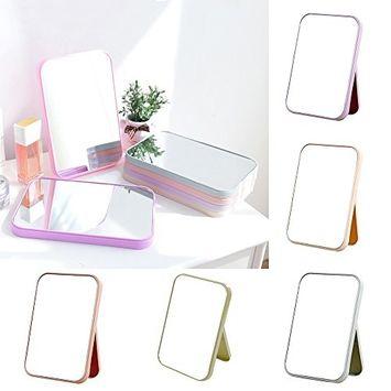 Makeup Mirror, Mmrm Travel Desktop Makeup Mirror Cosmetic Mirrors with Adjustable Stand (Random Color)
