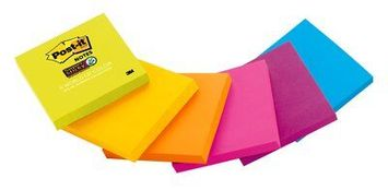 Post-it® Super Sticky Note, 3 in x 3 in, Rio de Janeiro Collection, Mixed Case, 1 Pad/Pack, 90 sheets/Pad