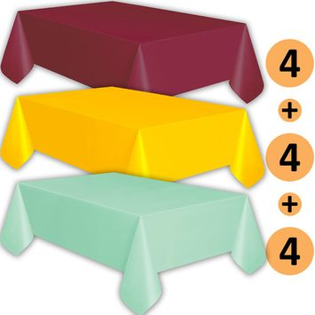 12 Plastic Tablecloths - Burgundy, Sunshine Yellow, Mint - Premium Thickness Disposable Table Cover, 108 x 54 Inch, 4 Each Color