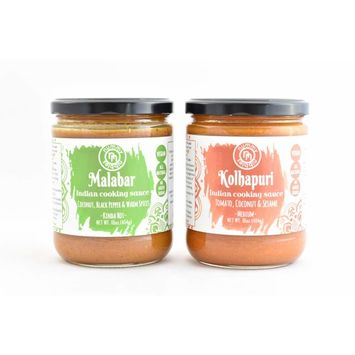 South & West Indian Cooking,Simmer Sauces 2 Pack(Malabar & Kolhapuri)|16oz ea., No Added Sugars, No Dairy, No GMOs, No Artificial Anything|Whole30, Vegan, Keto Friendly, Plant Based