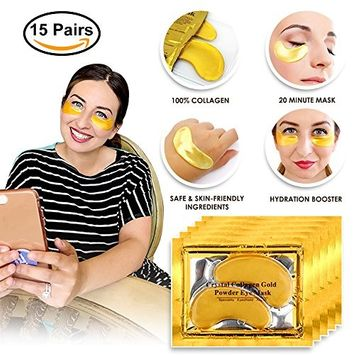 SIESTA Gold 15 Pack HydroGel Eye Collagen Chilled Eye Mask Best Reduce Puffiness, Dark Circles, Moisturizing and Firming, Hyaluronic Improves Eye Bags