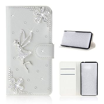 Samsung Galaxy A6 Plus 2018 Case, Scheam Leather Case 3D Diamond Bling Shining Case Wallet Case Credit Card Slot Kicktand Flip Cover Shockproof Protective Case for...
