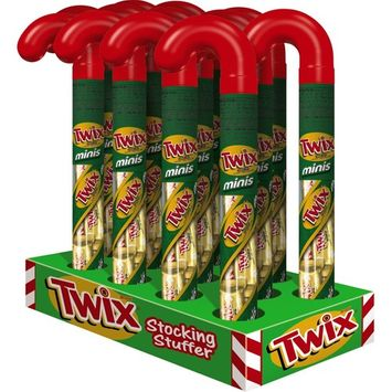 TWIX Holiday Caramel Minis Size Chocolate Cookie Bars in Christmas Candy Canes 2.15-Ounce Cane 12-Count Box
