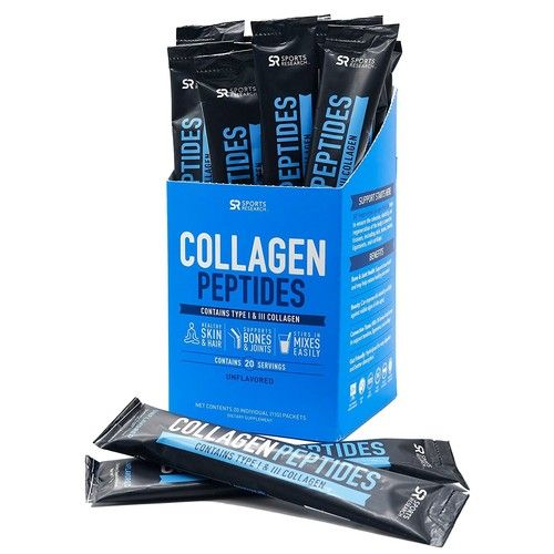 Collagen Peptides Travel Packs (20 per Box)   Grass-Fed, Certified Paleo Friendly, Non-GMO and Gluten Free - Unflavored