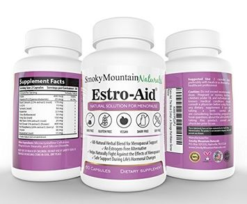 Smoky Mountain Naturals Estro-Aid: Herbal Menopause and PMS Supplement. Free of Dairy, Soy, Gluten, Magnesium Stearate, & GMOs. Vegan, Organic Veggie Capsule and Estrogen-Free.