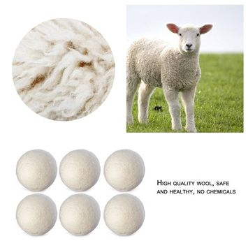 6PCS Natural Reusable Laundry Clean Ball Practical Home Wool Dryer Balls Laundry Softener Alternative Accessories