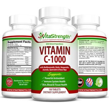 VitaStrength Vitamin C-1000 Complete Complex With Bioflavonoids, Rutin, Aceroia, Hesperidin, Quercetin and Rose Tips- 1000 Milligrams - Powerful Antioxidant - Immune System Health - 100 Tablets