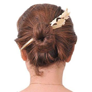 Marycrafts Light Shade Buffalo Horn Love Bird Couple Hair Stick, Hair Pin, Hair Accessory Toy Handmade 6.42