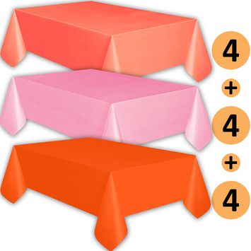 12 Plastic Tablecloths - Coral, Classic Pink, Orange - Premium Thickness Disposable Table Cover, 108 x 54 Inch, 4 Each Color