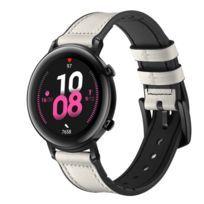 Bracelet en cuir véritable Largeur 20 mm blanc pour votre Huawei Watch Gt2