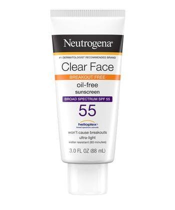 Neutrogena® Clear Face Break-Out Free Liquid Lotion Sunscreen Broad Spectrum SPF 55